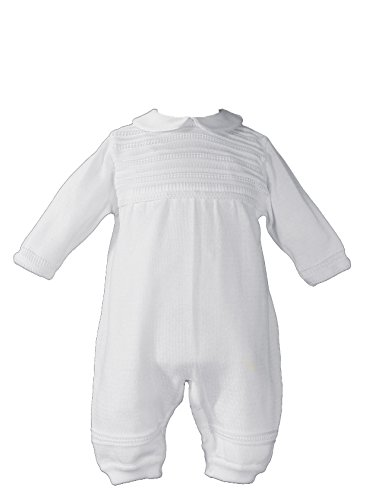 Little Things Mean A Lot Boys Knit White Christening Baptism Coverall