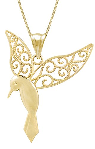 Honolulu Jewelry Company 14k Yellow Gold Humming Bird Necklace
