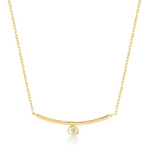 14k Real Gold 0,01 ct Diamond Curved Bar Pendant Necklace