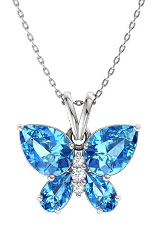Diamondere Natural and Certified Blue Topaz and Diamond Butterfly
