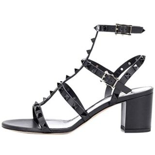 Comfity Sandals for Women,Rivets Studded Strappy Block Heels