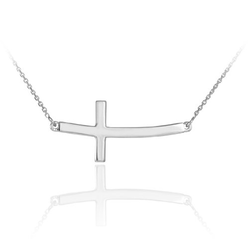 14k Solid White Gold Sideways Curved Christian Cross Necklace