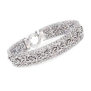 Ross-Simons Sterling Silver Wide Beaded Byzantine Bracelet