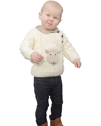 Baby Shepley Handknit Merino Wool Aran Crew Sweater
