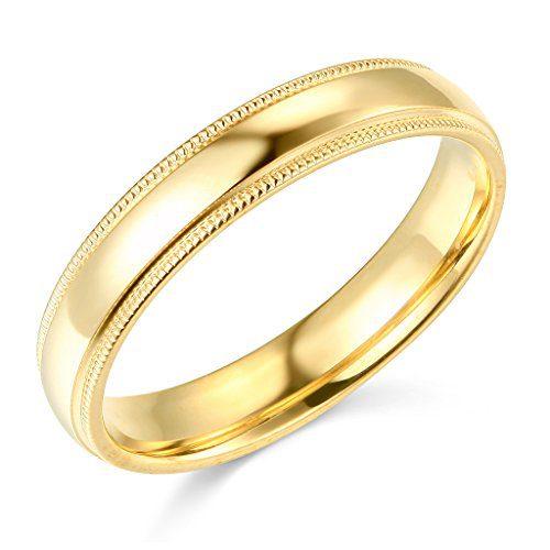 14k Yellow Gold 4mm Plain Milgrain Wedding Band - Size 7