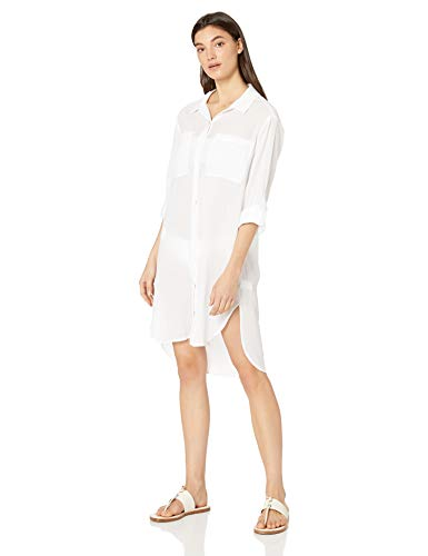 Seafolly Women's Crinkle Twill Beach Shirt Cover Basics White