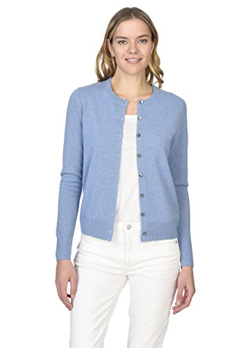 State Cashmere Women's 100% Pure Cashmere Button Front Long Sleeve