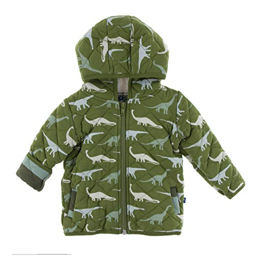 Kickee Pants Little Boys Print Quilted Jacket with Sherpa-Lined Hood