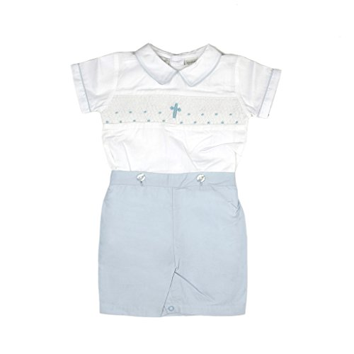 Baby Boys Hand Smocked Christening/Baptism Blue Cross Bobbie Suit