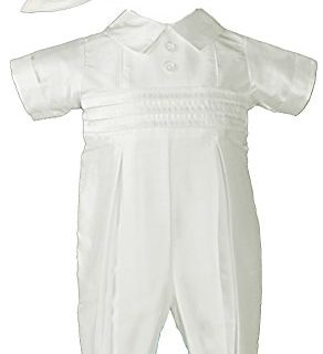 White Silk Christening Baptism Coverall with Hat
