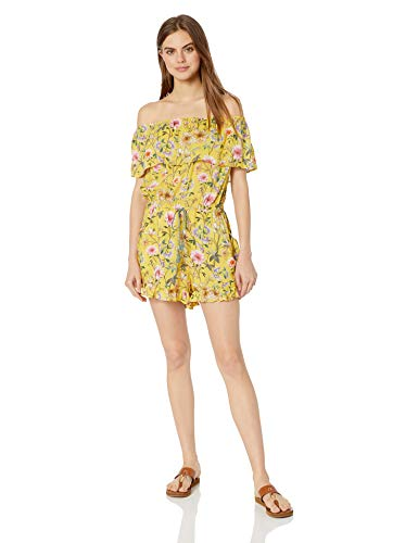Lucky Brand Women's Off Shoulder Ruffle Front Tie Swimwear Cover Up Dress