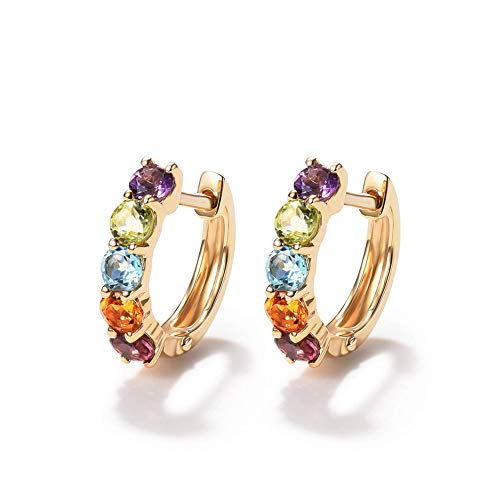FANCIME 14K Solid Yellow Gold 0.77cttw Multi Colored Amethyst