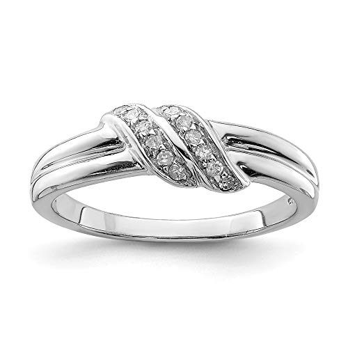Sterling Silver Diamond Band Ring Size 7.00 Fine Jewelry Gifts