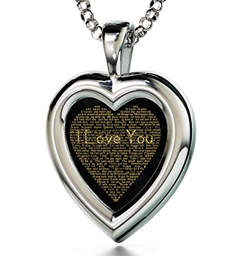 Nano Jewelry Sterling Silver Heart Pendant I Love You Necklace