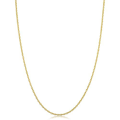 Solid 14k Yellow Gold Rope Chain Necklace