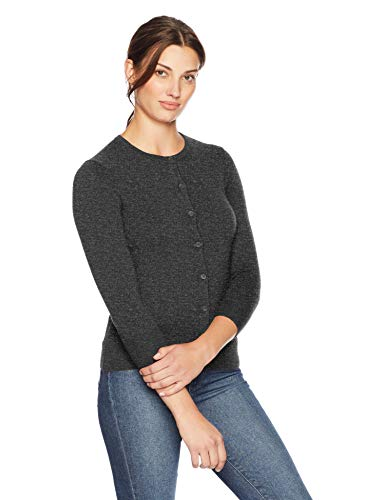 Lark & Ro Women's Three Quarter Sleeve Crewneck Cashmere Cardigan