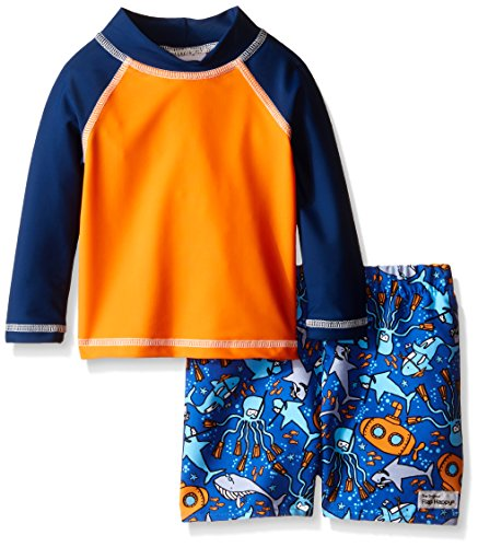 Flap Happy Boys' UPF 50+ Rash Guard and Infant Swim Diaper Trunk Set