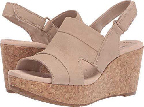 CLARKS Women's Annadel Ivory Wedge Sandal, Sand Nubuck