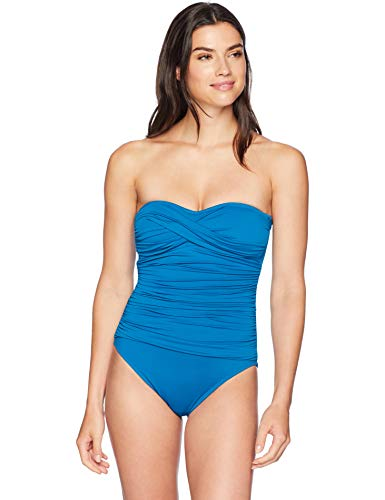 La Blanca Women's Island Goddess Rouched Front Bandeau One Piece Swimsuit