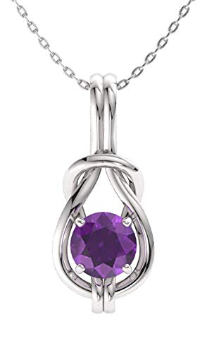 Diamondere Natural and Certified Amethyst Infinity Knot Solitaire Necklace