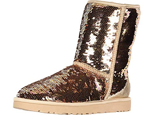 UGG Women's W Classic Short Sequin Fashion Boot, Gold Combo