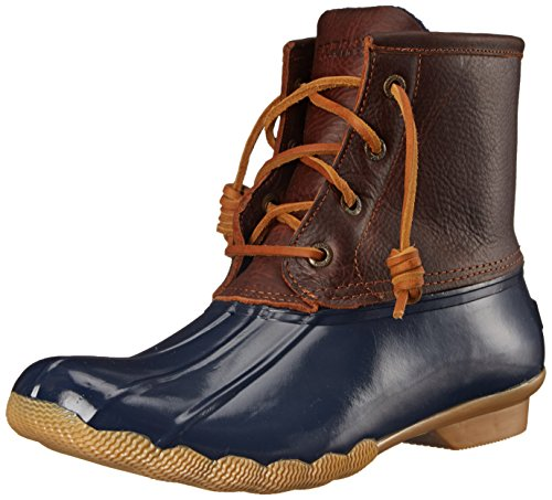 Sperry Women's Saltwater Rain Boot, Tan/Navy