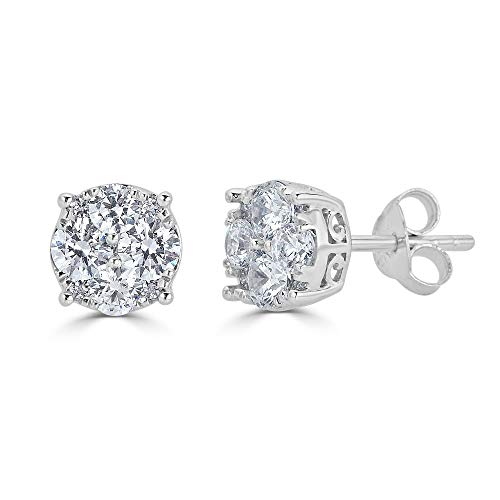 3/4Ct Diamond Stud Earrings Set in Sterling Silver