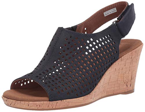 Rockport Women's Briah PERF Sling Wedge Sandal Navy