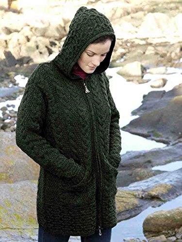 100% Merino Wool Aran Crafts Ladies Zip Zig Zag Jacket Green