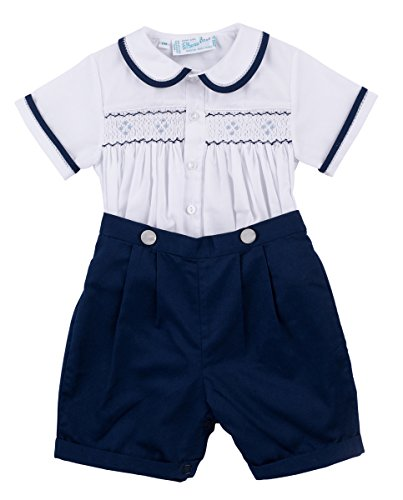 Feltman Brothers Navy & White Two Piece Smocked Boys Short Set