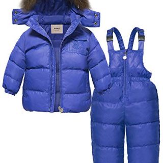 ZOEREA 2 pcs Unisex Kids Girls Snowsuit Hooded Puffer Jacket