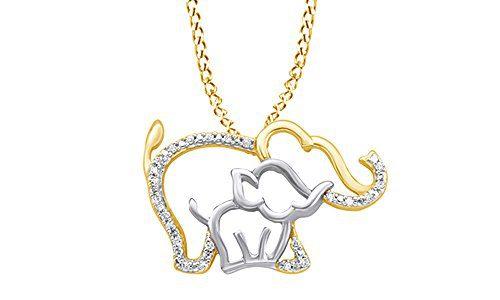 AFFY White Natural Diamond Mother & Baby Elephant Pendant Necklace