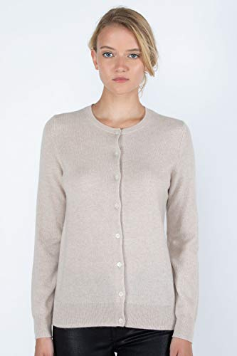 JENNIE LIU Women's 100% Cashmere Button Front Long Sleeve
