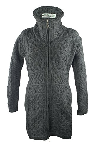 100% Irish Merino Wool Double Collar Aran Knit Coat