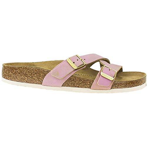 Birkenstock Women's Yao Sandal Washed Metallic Pink Leather