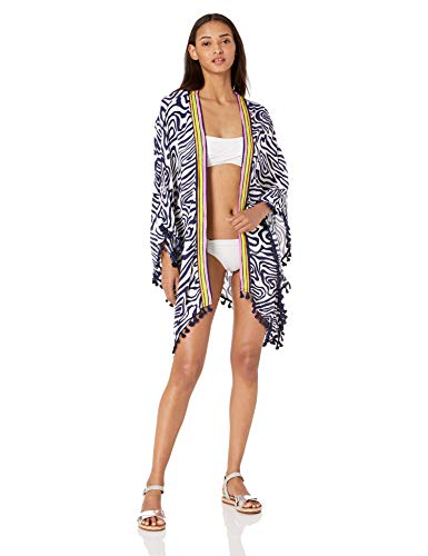 Trina Turk Women's Open Front Kimono Sleeve Beach Cover Up