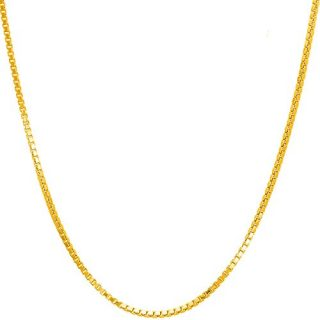 14K Solid Yellow Gold 1.2MM Italian Diamond Cut Box Chain Necklace