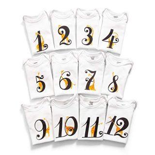 JumpOff Jo - Milestone Onesies - 12 Pack White Bodysuit Set