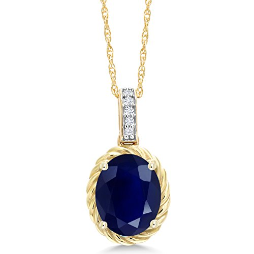 Gem Stone King 10K Yellow Gold Blue Sapphire and White Diamond Pendant