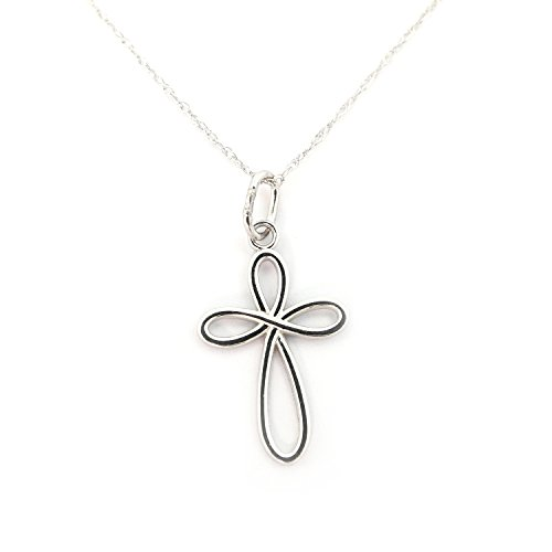 Beauniq 14k White Gold Infinity Open Cross Pendant Necklace