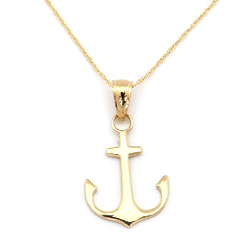 Beauniq 14k Yellow Gold Flat Polished Anchor Pendant Necklace