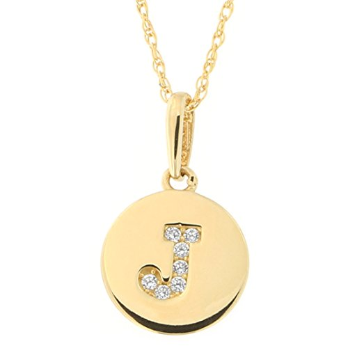 14k Yellow Gold Cubic Zirconia Tiny Round Disc Initial Necklace
