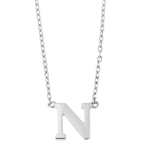 14k White Gold Tiny Initial Pendant Necklace