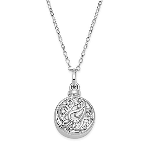 Sterling Silver Tear In Circle Ash Holder 18 Inch Chain Necklace Pendant