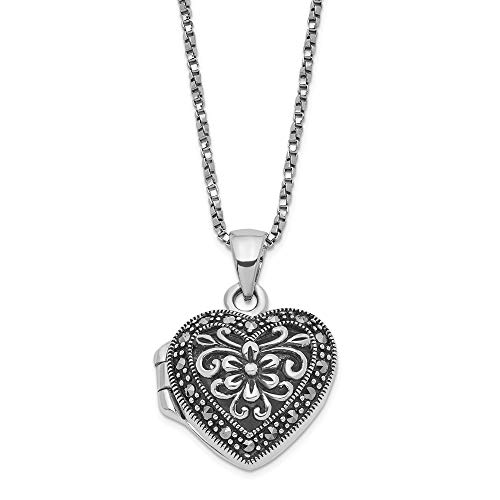 Sterling Silver Marcasite Heart Locket Chain Necklace Pendant Charm