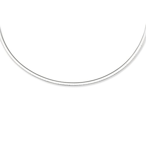 14K White and Yellow Gold Solid Reversible Omega 3mm Chain