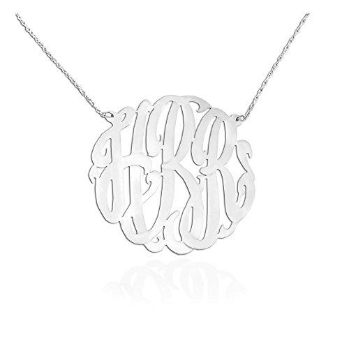 Monogram Necklace - 1.25 inch .925 Sterling Silver - Handcrafted Designer