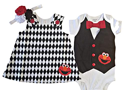 Perfect Pairz Boy Girl Twin Outfits Elmo Set USA Made