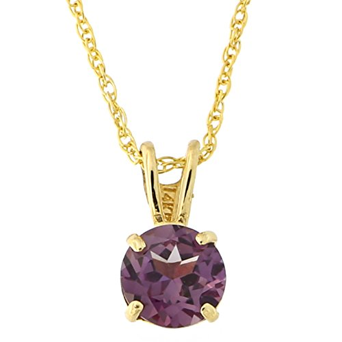 Beauniq 14k Yellow Gold 7mm Simulated Alexandrite Solitaire Pendant Necklace