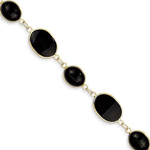 14k Yellow Gold 8 Inch Black Onyx Bracelet Gemstone Fine Jewelry Gifts